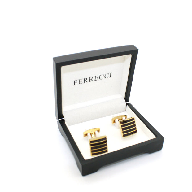 Goldtone Burgundy Stripe Cuff Links With Jewelry Box - Ferrecci USA