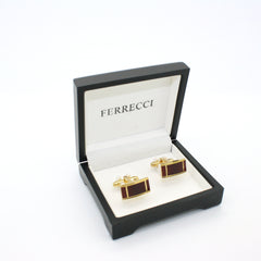 Goldtone Burgundy Cuff Links With Jewelry Box