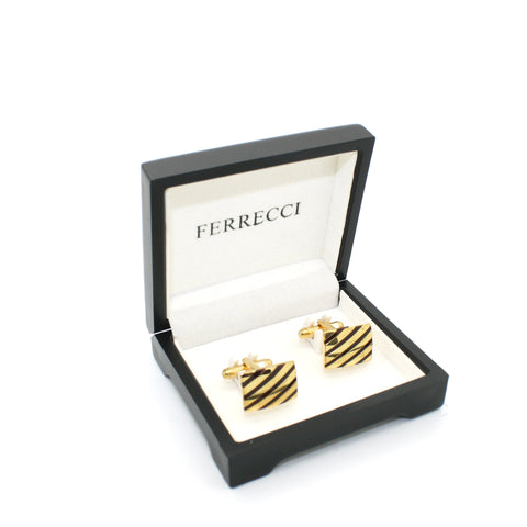 Goldtone Stripe Cuff Links With Jewelry Box