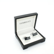 Silvertone Black Checker Rectangle Cuff Links With Jewelry Box