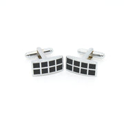 Silvertone Black Checker Rectangle Cuff Links With Jewelry Box - Ferrecci USA