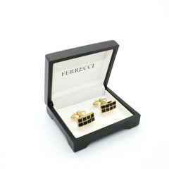 Goldtone Black Checker Rectangle Cuff Links With Jewelry Box