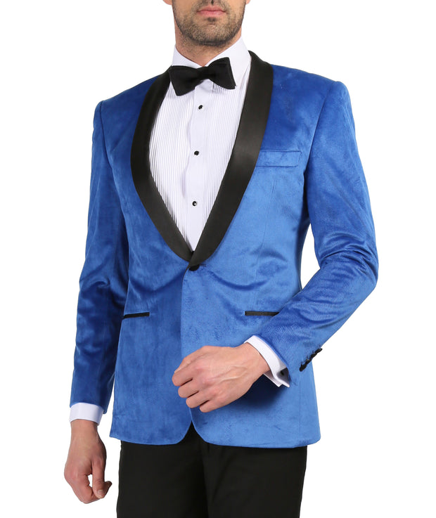 Enzo Royal Blue Slim Fit Velvet Shawl Tuxedo Blazer
