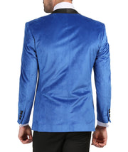 Enzo Royal Blue Slim Fit Velvet Shawl Tuxedo Blazer - Ferrecci USA