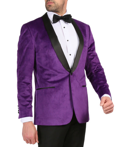 Enzo Purple Slim Fit Velvet Shawl Tuxedo Blazer