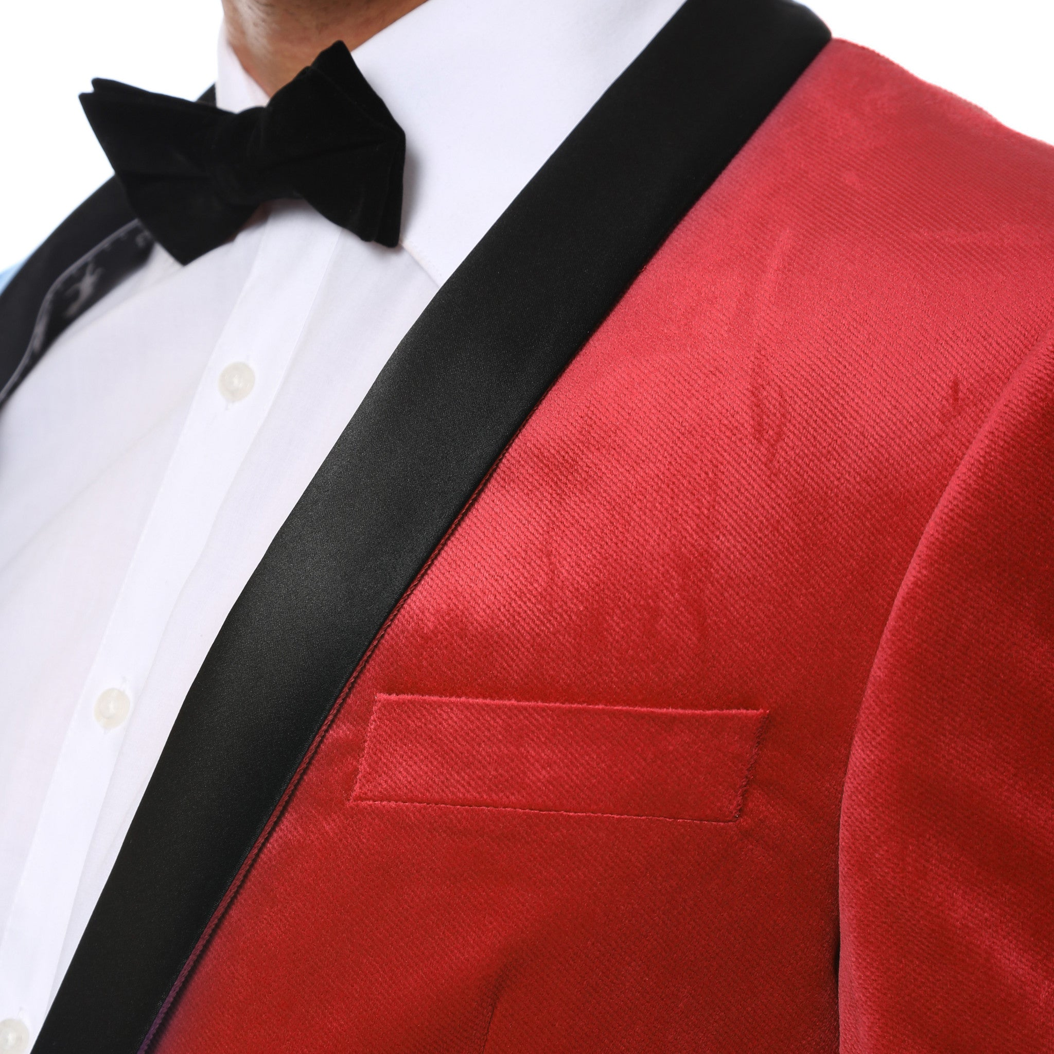 Enzo Red Slim Fit Velvet Shawl Tuxedo Blazer