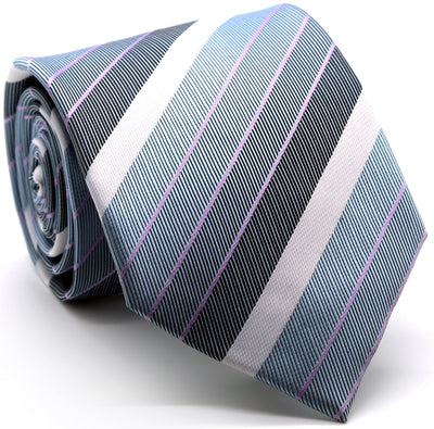 Mens Dads Classic Grey Striped Pattern Business Casual Necktie & Hanky Set EO-6 - Ferrecci USA