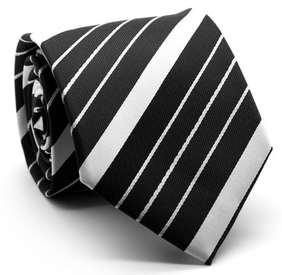 Mens Dads Classic Black Striped Pattern Business Casual Necktie & Hanky Set EO-8 - Ferrecci USA