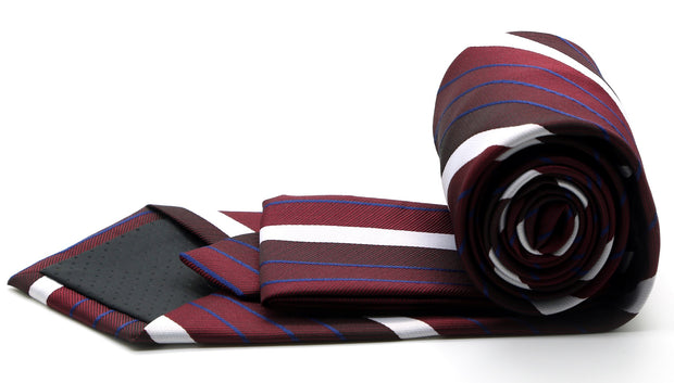 Mens Dads Classic Red Striped Pattern Business Casual Necktie & Hanky Set EO-9 - Ferrecci USA