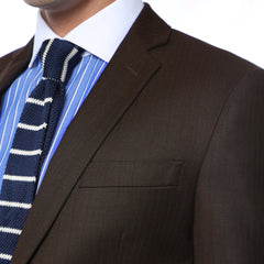 Etro Mens Brown Pinstripe Slim Fit Notch Lapel 2pc Suit
