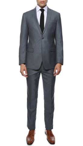 Etro Mens Grey Blue Slim Fit Notch Lapel 2pc Suit
