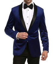 Enzo Indigo Velvet Slim Fit Shawl Lapel Tuxedo Men's Blazer - Ferrecci USA