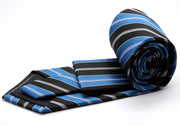 Mens Dads Classic Turquoise Striped Pattern Business Casual Necktie & Hanky Set F-2 - Ferrecci USA
