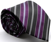 Mens Dads Classic Purple Striped Pattern Business Casual Necktie & Hanky Set F-3 - Ferrecci USA