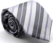 Mens Dads Classic Purple Striped Pattern Business Casual Necktie & Hanky Set F-4 - Ferrecci USA