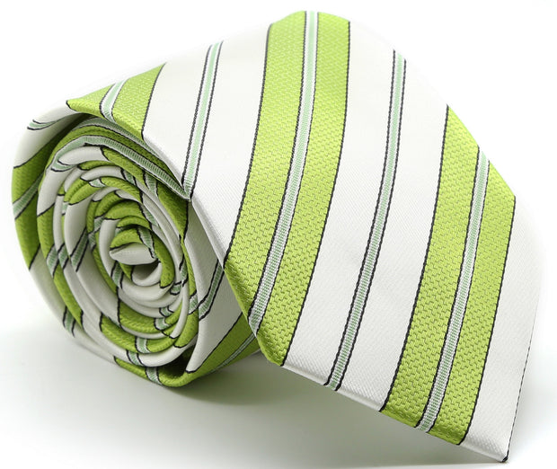Mens Dads Classic Green Striped Pattern Business Casual Necktie & Hanky Set F-9 - Ferrecci USA