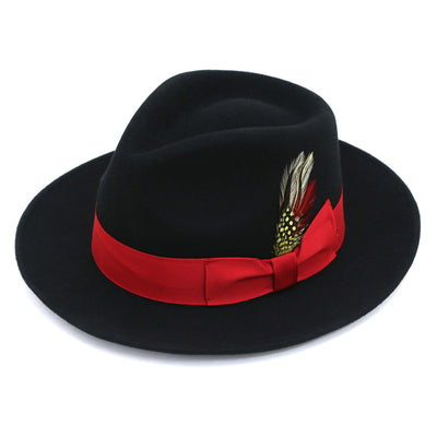 Premium Wool Black & Red Fedora Hat