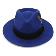 Royal Blue w Black Band Premium Wool Fedora Hat