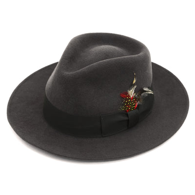Grey & Green Premium Wool Fedora Hat - Ferrecci USA