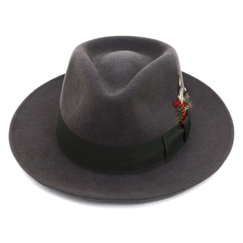 Grey & Green Premium Wool Fedora Hat