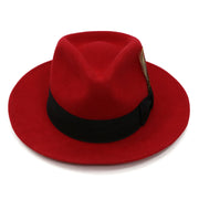 Ferrecci Red w Black Band Premium Wool Fedora Hat