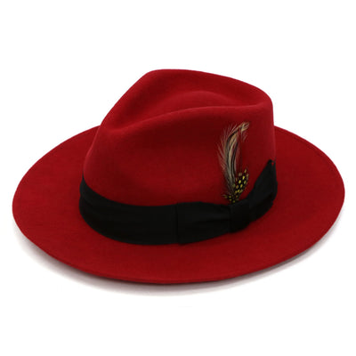 Ferrecci Red w Black Band Premium Wool Fedora Hat - Ferrecci USA