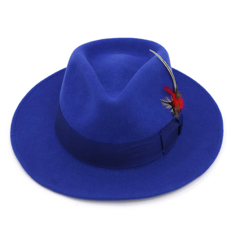 Royal Blue Premium Wool Fedora Hat