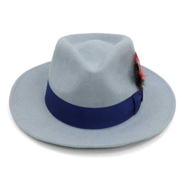 Sky Blue w Royal Band Premium Wool Fedora Hat