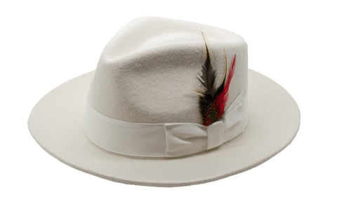 Ferrecci Off White Premium Wool Fedora Hat