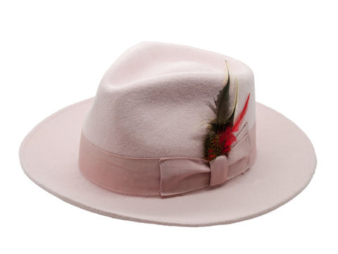 Premium Wool Light Pink Fedora Hat