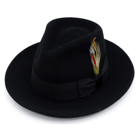 Premium Wool Black Fedora Hat