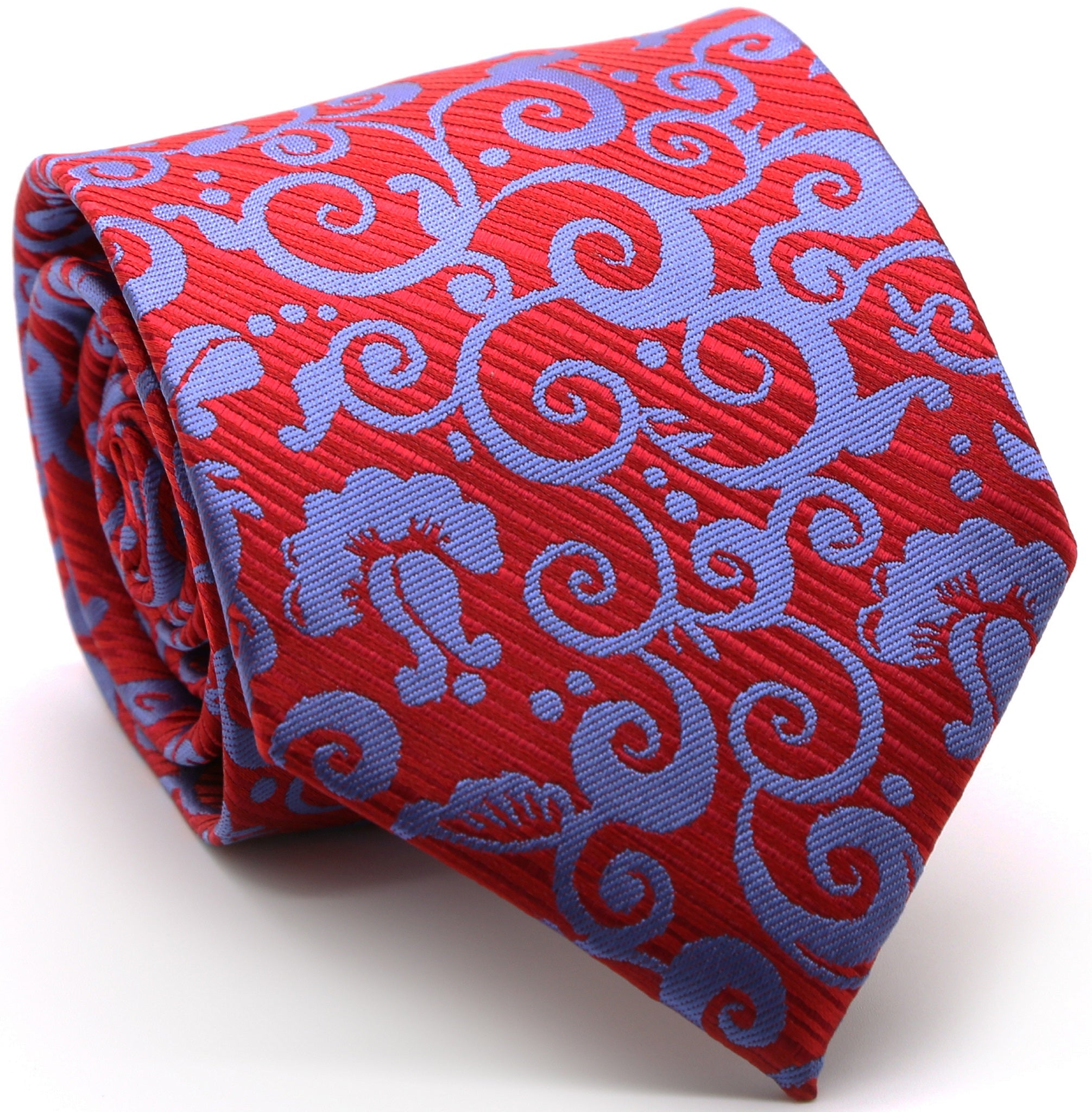 Mens Dads Classic Red Paisley Pattern Business Casual Necktie & Hanky Set FO-3
