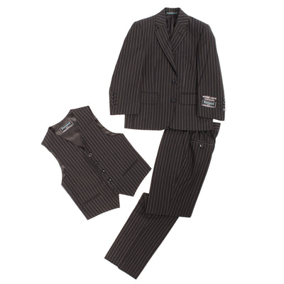 Boys Premium Black Pinstripe 3 Piece Vested Suit - Ferrecci USA