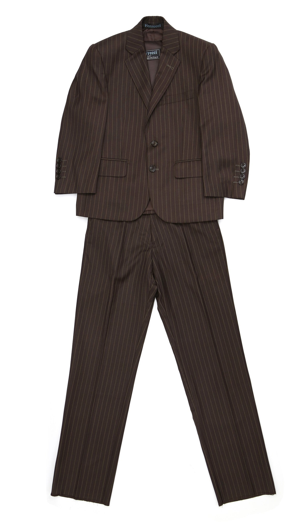 Ferrecci USA Boys Brown 3pc Vested Suit