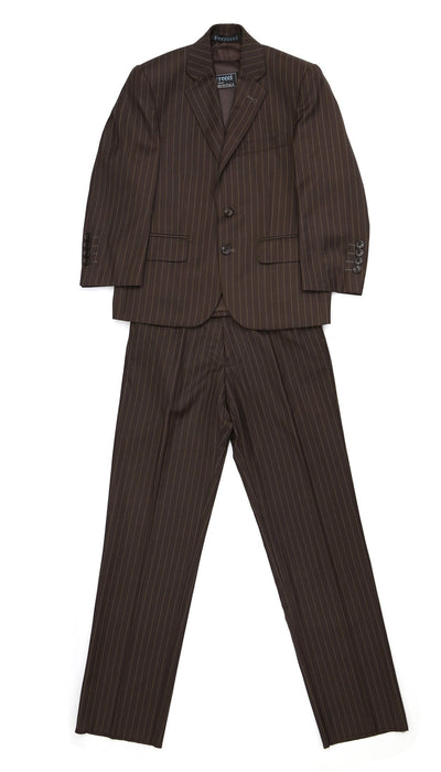 Boys Premium Brown Pinstripe 3 Piece Suit - Ferrecci USA