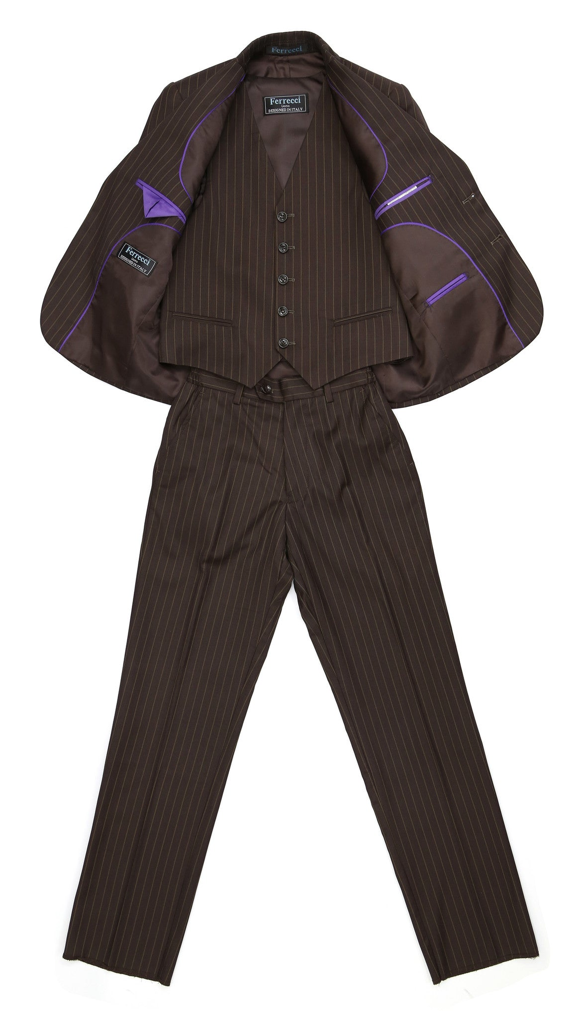 Boys Premium FSK32 Brown Pinstripe 3pc Suit