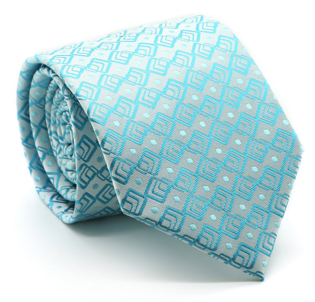 Mens Dads Classic Turquoise Geometric Pattern Business Casual Necktie & Hanky Set G-6 - Ferrecci USA