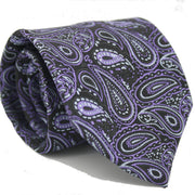 Mens Dads Classic Purple Paisley Pattern Business Casual Necktie & Hanky Set GF-3 - Ferrecci USA
