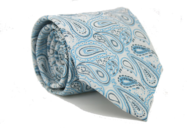 Mens Dads Classic Turquoise Paisley Pattern Business Casual Necktie & Hanky Set GF-5 - Ferrecci USA