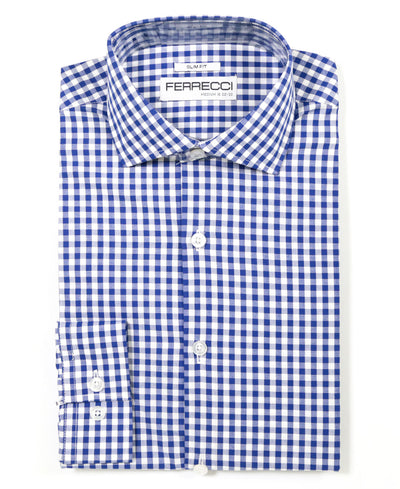 Blue Gingham Check Dress Shirt - Slim Fit