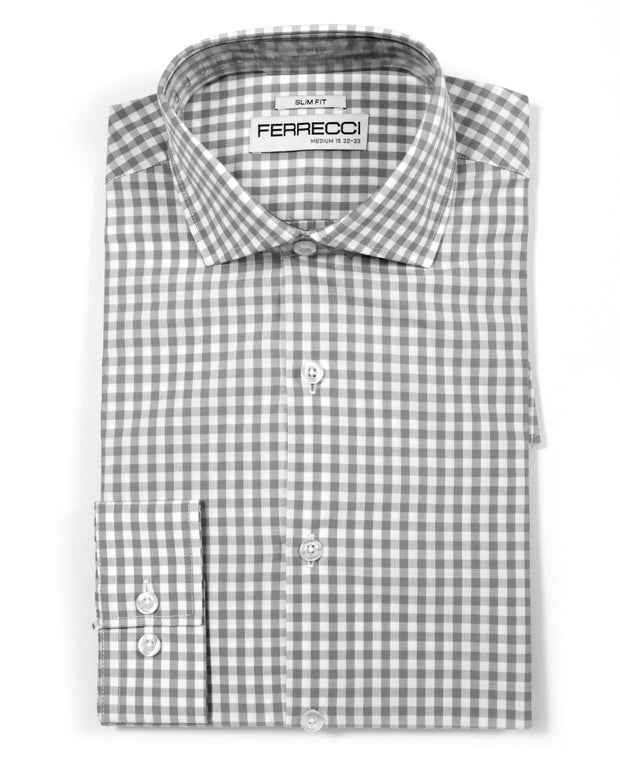 Grey Gingham Check Slim Fit Shirt - Ferrecci USA