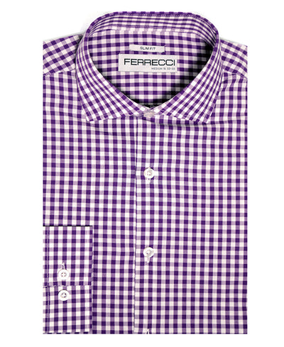 Purple Gingham Check Dress Shirt - Slim Fit - Ferrecci USA