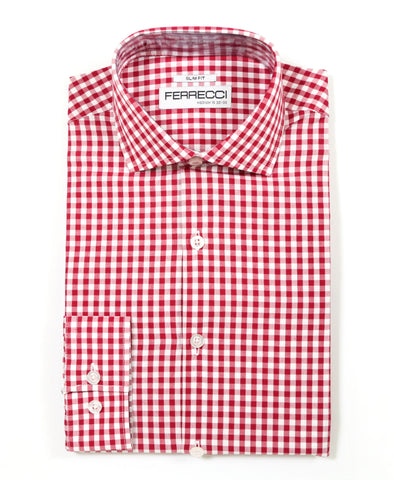 Red Gingham Check Dress Shirt - Slim Fit