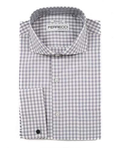 Grey Gingham Check French Cuff Regular Fit Shirt - Ferrecci USA