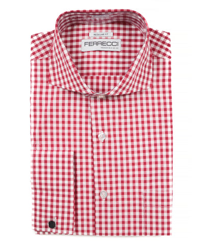Red Gingham Check French Cuff Dress Shirt - Regular Fit