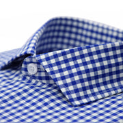 Blue Gingham Check French Cuff Regular Fit Shirt - Ferrecci USA