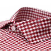 Red Gingham Check French Cuff Dress Shirt - Regular Fit - Ferrecci USA