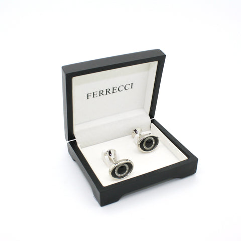 Silvertone Evil Eye Glass Stone Cuff Links With Jewelry Box