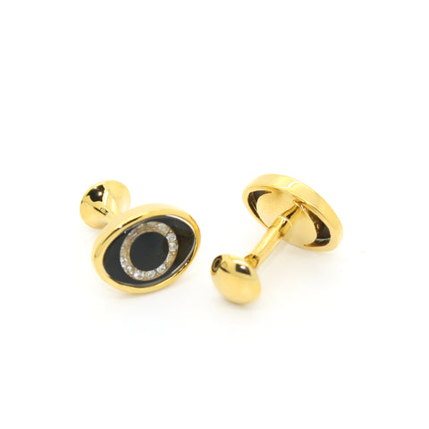 Goldtone Evil Eye Glass Stone Cuff Links With Jewelry Box