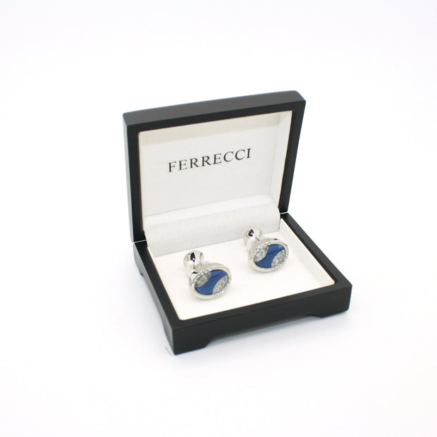 Silvertone Blue Sway Gemstone Cuff Links With Jewelry Box